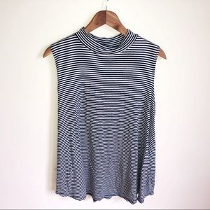 Navy & white striped collared tank